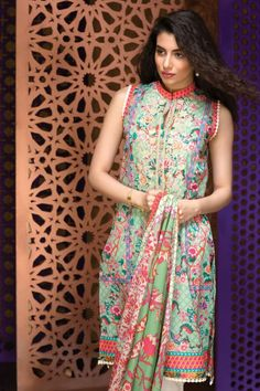Khaadi Eid Lawn Collection Unstitched 2 Piece Suit M16304 A in Green. #LawnCollection #EidCollection2016