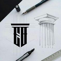 Logos Top trending sketch, best Initial symbol Creative monogram design by Irina kolosovskay Logo Branding, Typography Logo, Branding Design, Brand Identity Design, Corporate Branding, Web Design, Icon Design, Creative Design, Sketch Design