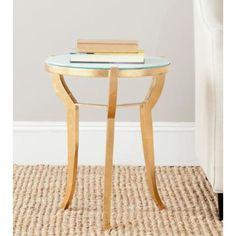 Malonton Gold and White Glass Accent Table