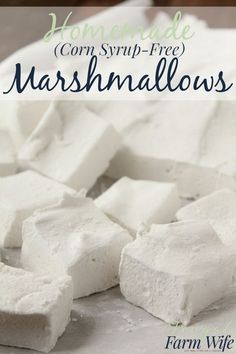 Homemade Marshmallows (No Corn Syrup!) The Frugal Farm Wife is part of Homemade marshmallows my glutenfree graham crackers! And with no corn syrup you can almost feel good about eating them! Recipes With Marshmallows, Homemade Marshmallows, Homemade Candies, Marshmallow Recipe No Corn Syrup, Homemade Corn Syrup Recipe, Homemade Marshmellow Recipes, Homemade Marshmallow Fluff, Gluten Free Marshmallows, How To Make Marshmallows