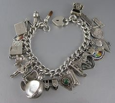 Vintage Sterling Silver Charm Bracelet With 27 Charms Vintage Charm Bracelet, Sterling Silver Charm Bracelet, Silver Charms, Charm Jewelry, Jewelry Box, Vintage Jewelry, Vintage Items, Charm Bracelets, Pandora Jewelry