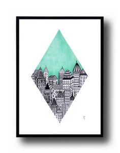 City in the blue - A5 poster