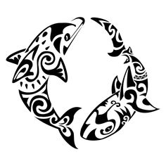 Maori Dolphin And Shark Tattoo Pattern. Maybe like on the outside of a shoulder Hai Tattoos, Bild Tattoos, Body Art Tattoos, Tattoos For Guys, Tattoos For Women, Tatoos, Symbol Tattoos, Cross Tattoos, Tattoo Symbols