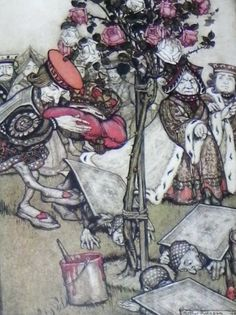 Chapter The Queen's Croquet Ground. Alice in Wonderland by Lewis Carroll - Arthur Rackham illustrations Arthur Rackham, Lewis Carroll, John Tenniel, Heart Canvas, Canvas Art, Alice In Wonderland Illustrations, Painting The Roses Red, Adventures In Wonderland, Wonderland Alice