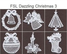 Best 12 FSL Dazzling Christmas Ornament Free Standing Lace Machine – Page 698550592186505344 Mini Christmas Ornaments, Crochet Christmas Decorations, Crochet Ornaments, Christmas Crochet Patterns, Crochet Snowflakes, Crystal Snowflakes, Crochet Angel Pattern, Bobbin Lace Patterns, Machine Embroidery Designs