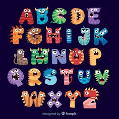 Buy Halloween Inspired Alphabets by prnjlsngh on GraphicRiver. Halloween or Hallowe'en (a contraction of Hallows' Even or Hallows' Evening), also known as Allhalloween, All Hallows. Alphabet Latin, Alphabet Letter Crafts, Hand Lettering Alphabet, Halloween Mono, Cute Halloween, Monster Party, Fonte Alphabet, Monster 1st Birthdays, Doodle Art Drawing