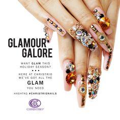 Want #GLAM this holiday season? We've got all the glam you need!  #christrio #christrionails #holidaynails #fashion #rhinestones #nailart #nails #naildesign #amazing