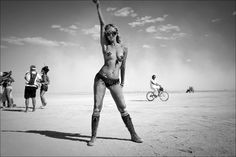 A strong girl at the Burning man festival