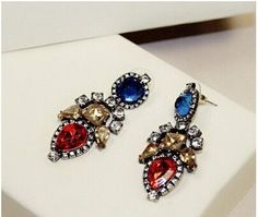colorful big long crystal drop earrings for women vintage earrings flower style fine jewelry wedding accessories high quality