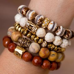 Add a touch of nature to any outfit with this unique stack of beaded bracelet designed and handmade in the South featuring semi-precious gemstones and gold accent beads. Black Bracelets, Gemstone Bracelets, Fashion Bracelets, Diamond Bracelets, Stretch Bracelets, Handmade Wire Jewelry, Handmade Bracelets, Beaded Earrings, Beaded Jewelry