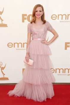 "Actress Jayma Mays arrives at the 63rd Annual Primetime Emmy Awards held at Nokia Theatre L.A. LIVE on September 18, 2011 in Los Angeles, California. Jayma looked lovely in a blush pink Zuhair Murad dress, which she paired with Neil Lane jewels, Brian Atwood shoes, and a Swarovski blush satin ""Party Time"" clutch."