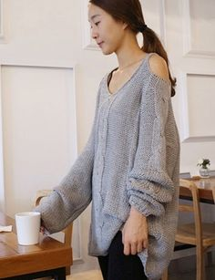 Grey Off The Shoulder Chunky Knitted Sweater. Oversized Cozy Knit Top   GlamUp - Clothing on ArtFire