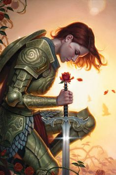 The Rose Knight.  Is the rose at the pommel part of the sword or simply held by her in that position? (note rose motifs on her armor)