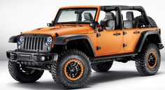 The #Jeep Wrangler Rubicon #Sunriser Mopar #conceptvehicle. Some of the custom features inclue a 4-inch suspension lift kit, LED lights and beadlock wheels.