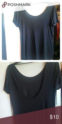 BKE Core Basic Black Top Scoop back BKE Tops Tees - Short Sleeve