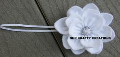 Lotus Flower, Flower Headband, Baby Headband, Felt Headband, All White Headband by OurKraftyCreations on Etsy