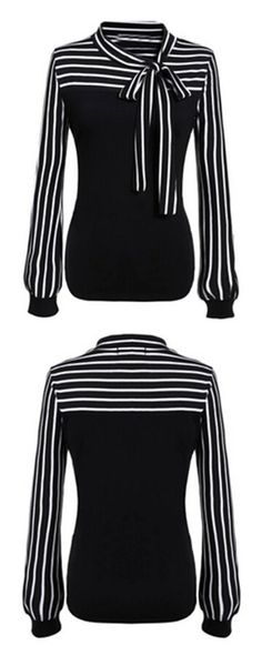 Minimal look with Colour-block Lapel Striped Loose Blouse & leather skirt. Minimal Look, Look Cool, Black Tops, Black White, Blouse Designs, Womens Fashion, Fashion Trends, Cute Outfits, My Style
