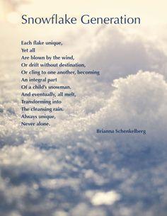 Snowflake generation Snowflake Quote, Never Alone, Diy Skin Care, Diy Christmas Ornaments, Powerful Words, Snowflakes, Verses, Poems, Wisdom