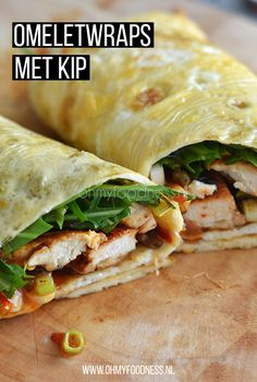OMF's Studentenkeuken: Omeletwraps met kip - OhMyFoodness OMF's Studentenkeuken: Omeletwraps met kip - OhMyFoodness Healthy Recepies, Super Healthy Recipes, Healthy Meals For Kids, Healthy Snacks, Easy Meals, Healthy Eating, Lunch Snacks, Sports Food, Food Inspiration