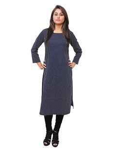 7d0208db40d45 Buy Anuswara Blue Color Rayon Plain Calf Length A Line Style Kurti online.