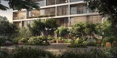 the condominium complex is situated just west of the high line, and features a large, multi-level landscaped garden.