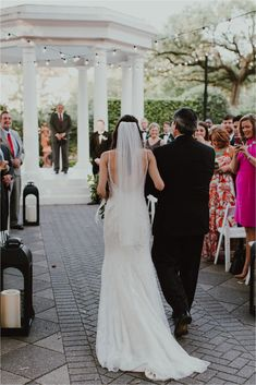 a9cae91b0d5 new orleans outdoor wedding elms mansion father walking bride down the  aisle wedding dress glam veil