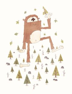 A Textured digital Illustration of Bigfoot Munching on a delicious tree in a forest this is a Sasquatch Salad. Painting Inspiration, Art Inspo, Cryptozoology, Kindergarten Art, Cool Cartoons, Bigfoot, Digital Illustration, Illustrators, Character Design