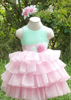 Купить Нарядное платье для девочки, Выпускное платье и заколка с цветами - мятный, нарядное платье