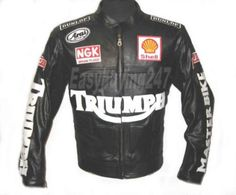 Handmade Triumph Motorcycle Leather Jacket with CE Safety Pads All Sizes XS-6XL #Handmade #BasicJacket