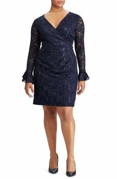e33c8d944baca Lauren Ralph Lauren Agnes Lace   Sequin Dress (Plus Size) Plus Size Sale