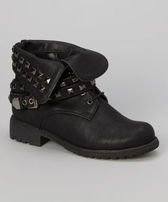 This Black Stud Fold-Over Timberly Boot by Wild Diva is perfect! #zulilyfinds $15.99 was $48.00
