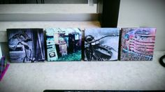 Costers I made for a friends new garage. Tile, brush on Mod Podge, place picture, brush mod podge over picture, spray with mod podge sealent, place Cork board or even a magnet on back and done Diy Stuff, Cork, Art Work, Projects To Try, Tile, My Arts, Garage, Xmas, Craft Ideas