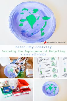 Earth Day Activity: Learning the Importance of Recycling + Free Printable  (1. Earth full of garbage 2. Sorting and recycling 3. Clean Earth)  | A Little Pinch of Perfect