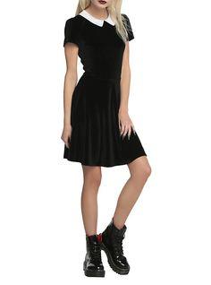 Black Velvet White Collar Dress, BLACK. So cute for Wednesday costume