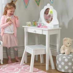 S Vanity Table And Stool Childrens Dressing Tables With Mirror Argos