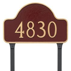 Montague Metal Products Lexington One Estate Line Arch Address Plaque Finish: Navy/Gold