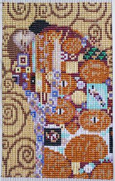 """Beads woven tapestry Klimt """"hug"""" Finished size: Side 9.5㎝ × vertical 15cm"""