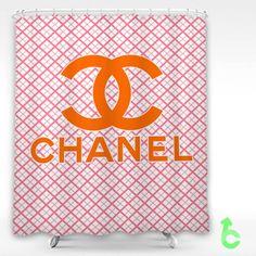 Chanel Pink Squares Orange Shower Curtain
