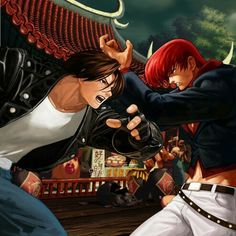 Kyo Kusanagi and Iori Yagami Game Character, Character Concept, Character Design, Art Of Fighting, Fighting Games, Chun Li, Comic Games, Snk Games, Snk King Of Fighters