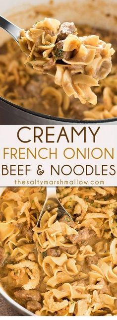 Creamy French Onion Beef and Noodles is easy to make, ready in 25 minutes or less right on your stove top! The ultimate quick comfort food for an amazing weeknight dinner. comfort food Creamy French Onion Beef and Noodles Beef Dishes, Pasta Dishes, Food Dishes, Main Dishes, Egg Noodle Dishes, Food Platters, Think Food, I Love Food, Beef Bourguignon