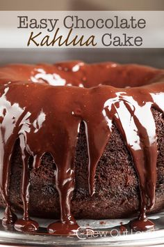 Easy Chocolate Kahlua Cake - Chew Out LoudEasy Chocolate Kahlua Cake This Easy Chocolate Kahlua Cake is both quick and impressive when you're short on time.  Your friends and family are sure to love this moist, tender cake infused with Kahlua and drizzled with ganache.  It's marvelous all by itself or with a scoop of vanilla ice cream.