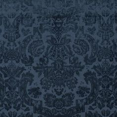 Inside Fabric Grantham Velvet Damask Navy By Ralph Lauren