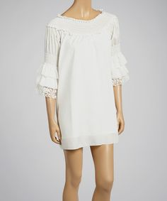 Another great find on #zulily! Joyce Clothing White Lace Smocked Shift Dress by Joyce Clothing #zulilyfinds