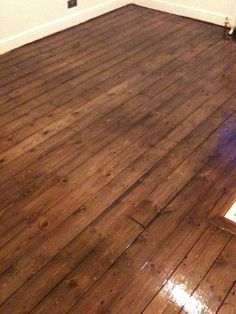 Pine floorboards after floor sanding, staining with dark brown pirit based stain plus 3 coats of clear varnish Sanding Wood Floors, Pine Wood Flooring, Pine Floors, Parquet Flooring, Hardwood Floors, Wood Floor Varnish, Bedroom Wooden Floor, Dark Wooden Floor, Wood Floor Restoration