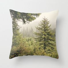 Into the mist -  Pillow - Redwood National Forest, California, Redwood, NoCal, Photograph,Decor, Mist, Forest, green, throw, decor, natural