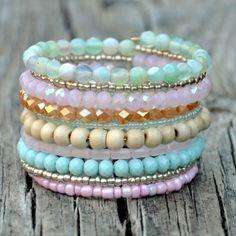 Mint, Pink & Natural Boho Wrap Bracelet