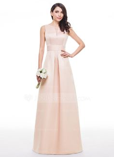 A-Line/Princess V-neck Floor-Length Satin Bridesmaid Dress With Ruffle (007060599)