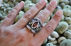 Three stone ring in sterling silver  US size 7 by SusanRoosJuwele, $360.00