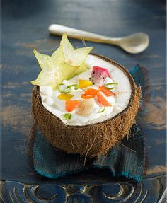This is tropical vacation in a bowl.  Tropical coconut soup with fruit.