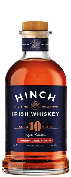 The Hinch 10 Year Old Sherry Cask Irish Whiskey, bottle The Hinch Sherry Cask Irish Whiskey has been triple distilled and is a blend between Single Grain and Single Malt Irish Whiskey. Jameson Irish Whiskey, Whiskey Sour, Irish Whiskey Brands, Single Malt Irish Whiskey, Whiskey Cake, Whiskey Girl, Scotch Whisky, Malt Whisky, Hot Toddy